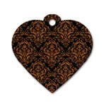 DAMASK1 BLACK MARBLE & RUSTED METAL (R) Dog Tag Heart (Two Sides) Back