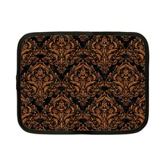Damask1 Black Marble & Rusted Metal (r) Netbook Case (small)