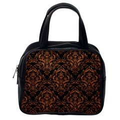 Damask1 Black Marble & Rusted Metal (r) Classic Handbags (one Side)