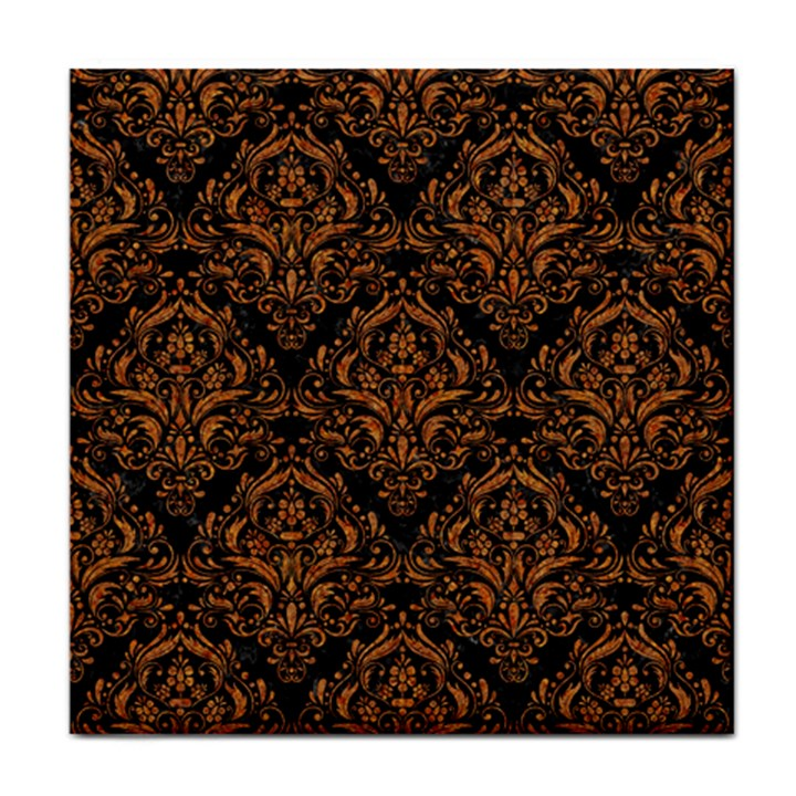 DAMASK1 BLACK MARBLE & RUSTED METAL (R) Face Towel