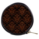 DAMASK1 BLACK MARBLE & RUSTED METAL (R) Mini Makeup Bags Front