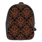 DAMASK1 BLACK MARBLE & RUSTED METAL (R) School Bag (Large) Front