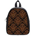 DAMASK1 BLACK MARBLE & RUSTED METAL (R) School Bag (Small) Front