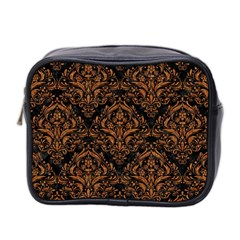 Damask1 Black Marble & Rusted Metal (r) Mini Toiletries Bag 2 Side