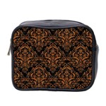 DAMASK1 BLACK MARBLE & RUSTED METAL (R) Mini Toiletries Bag 2-Side Front