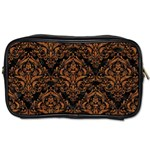 DAMASK1 BLACK MARBLE & RUSTED METAL (R) Toiletries Bags Front