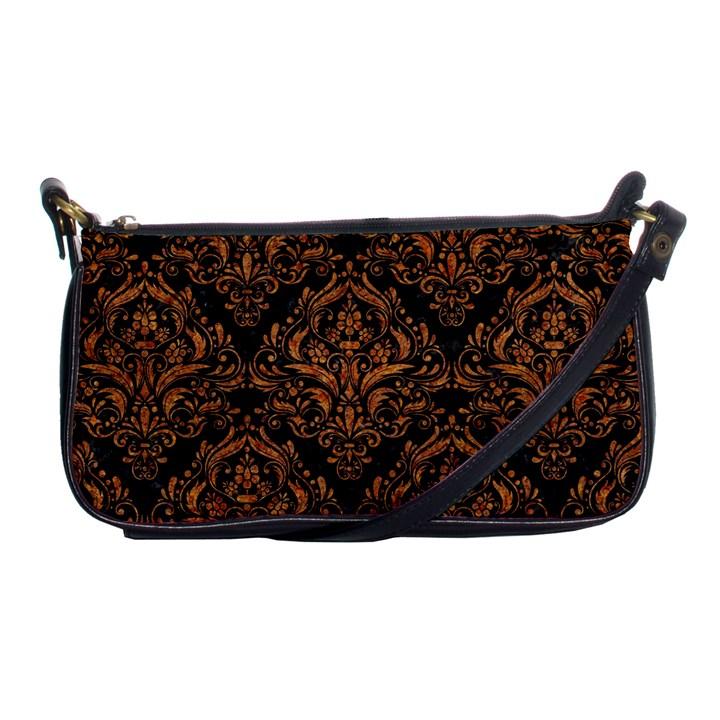 DAMASK1 BLACK MARBLE & RUSTED METAL (R) Shoulder Clutch Bags