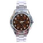 DAMASK1 BLACK MARBLE & RUSTED METAL (R) Stainless Steel Analogue Watch Front