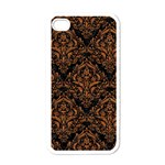 DAMASK1 BLACK MARBLE & RUSTED METAL (R) Apple iPhone 4 Case (White) Front