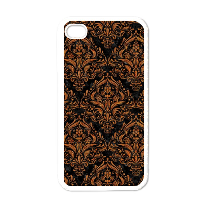 DAMASK1 BLACK MARBLE & RUSTED METAL (R) Apple iPhone 4 Case (White)