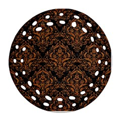 Damask1 Black Marble & Rusted Metal (r) Round Filigree Ornament (two Sides)