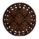 DAMASK1 BLACK MARBLE & RUSTED METAL (R) Round Filigree Ornament (Two Sides) Back
