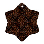 DAMASK1 BLACK MARBLE & RUSTED METAL (R) Snowflake Ornament (Two Sides) Back