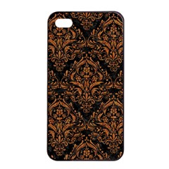 Damask1 Black Marble & Rusted Metal (r) Apple Iphone 4/4s Seamless Case (black)