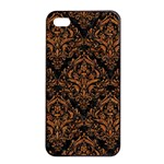 DAMASK1 BLACK MARBLE & RUSTED METAL (R) Apple iPhone 4/4s Seamless Case (Black) Front