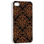DAMASK1 BLACK MARBLE & RUSTED METAL (R) Apple iPhone 4/4s Seamless Case (White) Front