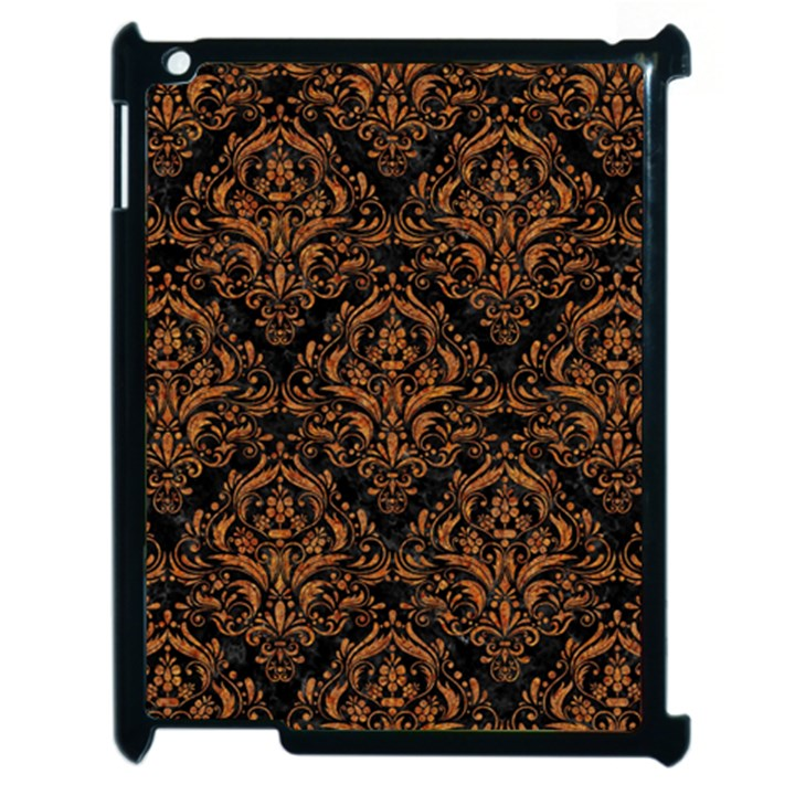 DAMASK1 BLACK MARBLE & RUSTED METAL (R) Apple iPad 2 Case (Black)