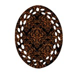 DAMASK1 BLACK MARBLE & RUSTED METAL (R) Ornament (Oval Filigree) Front