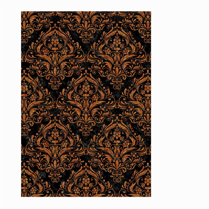 DAMASK1 BLACK MARBLE & RUSTED METAL (R) Large Garden Flag (Two Sides)