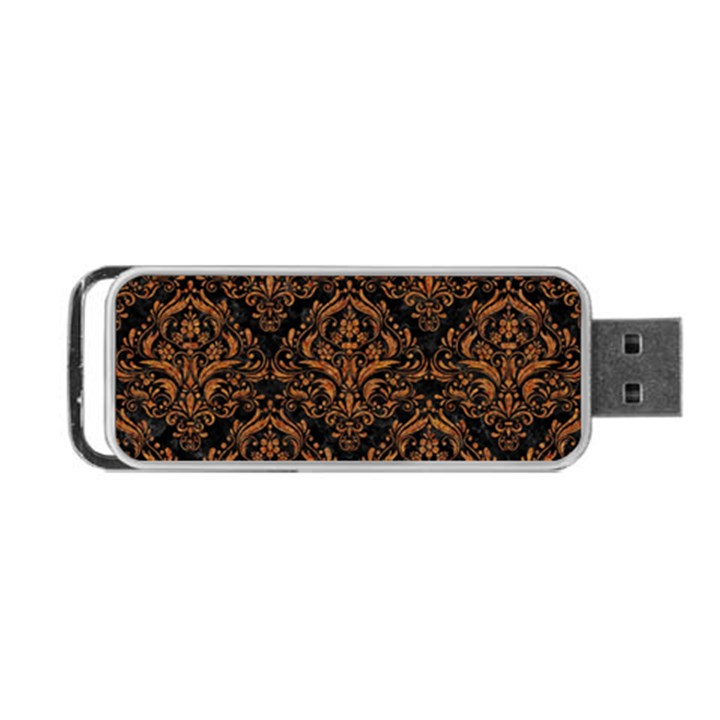 DAMASK1 BLACK MARBLE & RUSTED METAL (R) Portable USB Flash (Two Sides)