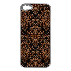 Damask1 Black Marble & Rusted Metal (r) Apple Iphone 5 Case (silver)