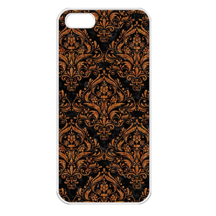 DAMASK1 BLACK MARBLE & RUSTED METAL (R) Apple iPhone 5 Seamless Case (White)