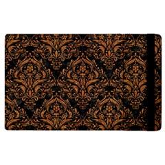 Damask1 Black Marble & Rusted Metal (r) Apple Ipad 2 Flip Case