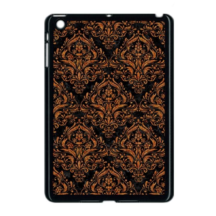 DAMASK1 BLACK MARBLE & RUSTED METAL (R) Apple iPad Mini Case (Black)