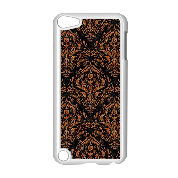 DAMASK1 BLACK MARBLE & RUSTED METAL (R) Apple iPod Touch 5 Case (White)