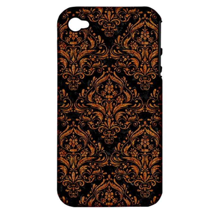 DAMASK1 BLACK MARBLE & RUSTED METAL (R) Apple iPhone 4/4S Hardshell Case (PC+Silicone)