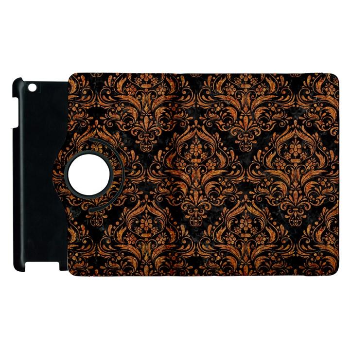 DAMASK1 BLACK MARBLE & RUSTED METAL (R) Apple iPad 3/4 Flip 360 Case
