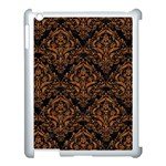 DAMASK1 BLACK MARBLE & RUSTED METAL (R) Apple iPad 3/4 Case (White) Front