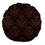 DAMASK1 BLACK MARBLE & RUSTED METAL (R) Large 18  Premium Round Cushions Back