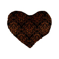 Damask1 Black Marble & Rusted Metal (r) Standard 16  Premium Heart Shape Cushions