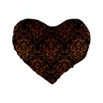 DAMASK1 BLACK MARBLE & RUSTED METAL (R) Standard 16  Premium Heart Shape Cushions Front