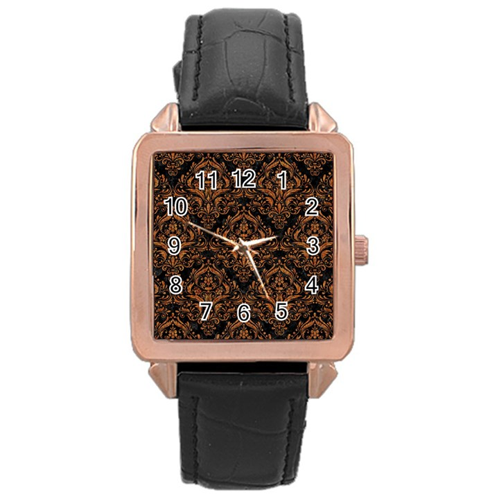 DAMASK1 BLACK MARBLE & RUSTED METAL (R) Rose Gold Leather Watch