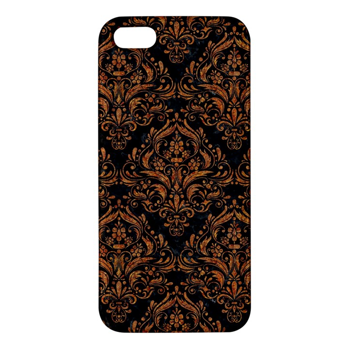 DAMASK1 BLACK MARBLE & RUSTED METAL (R) Apple iPhone 5 Premium Hardshell Case