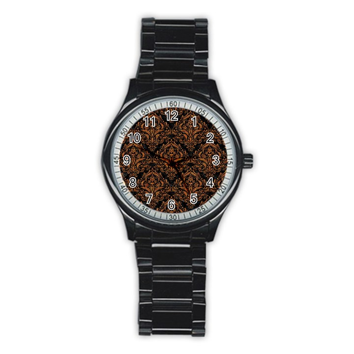 DAMASK1 BLACK MARBLE & RUSTED METAL (R) Stainless Steel Round Watch