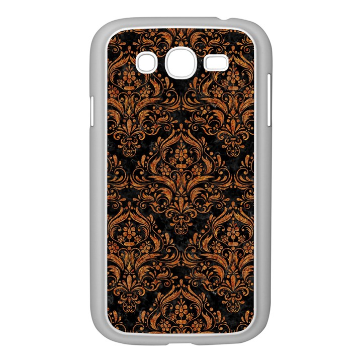 DAMASK1 BLACK MARBLE & RUSTED METAL (R) Samsung Galaxy Grand DUOS I9082 Case (White)