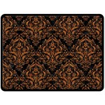 DAMASK1 BLACK MARBLE & RUSTED METAL (R) Double Sided Fleece Blanket (Large)  80 x60 Blanket Back