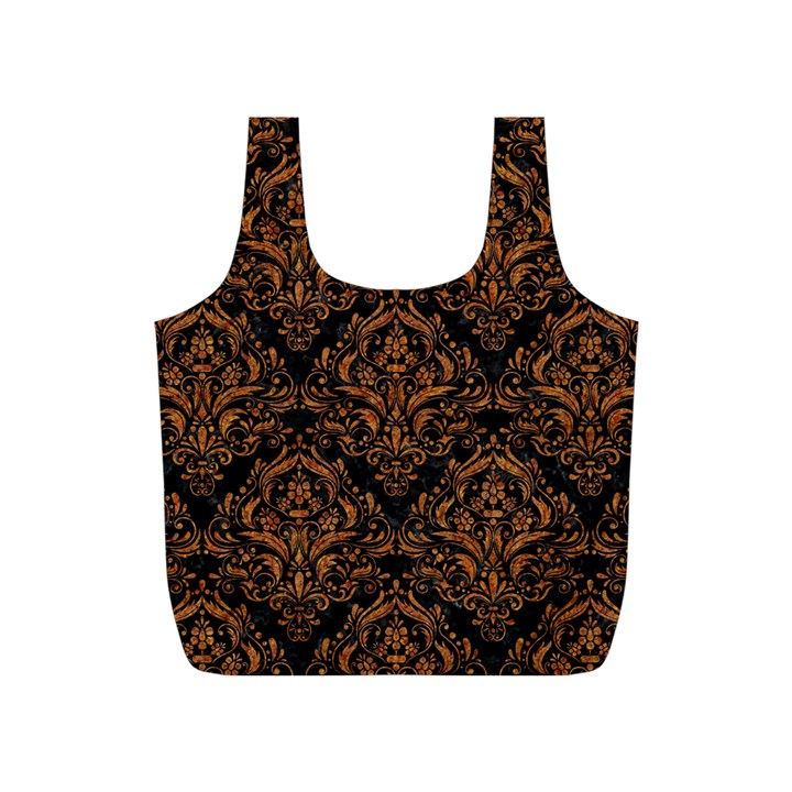 DAMASK1 BLACK MARBLE & RUSTED METAL (R) Full Print Recycle Bags (S)