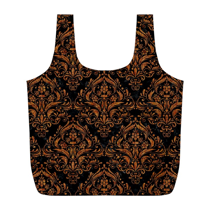 DAMASK1 BLACK MARBLE & RUSTED METAL (R) Full Print Recycle Bags (L)