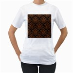 DAMASK1 BLACK MARBLE & RUSTED METAL (R) Women s T-Shirt (White)  Front