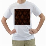 DAMASK1 BLACK MARBLE & RUSTED METAL (R) Men s T-Shirt (White)  Front