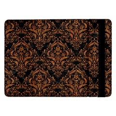 Damask1 Black Marble & Rusted Metal (r) Samsung Galaxy Tab Pro 12 2  Flip Case