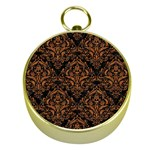 DAMASK1 BLACK MARBLE & RUSTED METAL (R) Gold Compasses Front