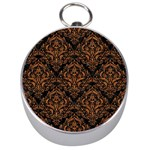 DAMASK1 BLACK MARBLE & RUSTED METAL (R) Silver Compasses Front
