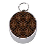 DAMASK1 BLACK MARBLE & RUSTED METAL (R) Mini Silver Compasses Front