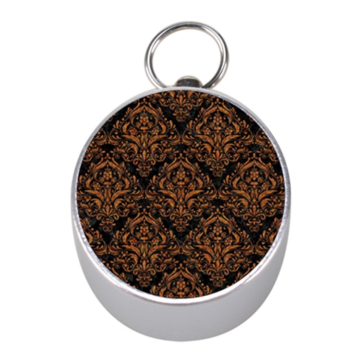 DAMASK1 BLACK MARBLE & RUSTED METAL (R) Mini Silver Compasses