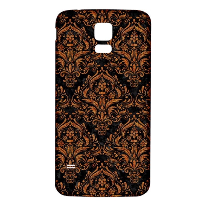 DAMASK1 BLACK MARBLE & RUSTED METAL (R) Samsung Galaxy S5 Back Case (White)